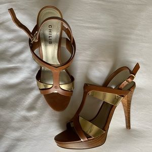 Never worn before gold and brown high heels.